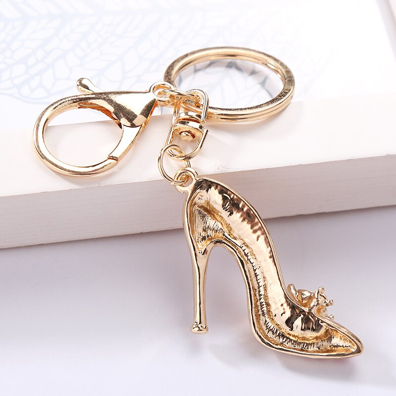Rhinestones High Heels Alloy Key Chain
