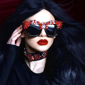 Red Crystal Rhinestone Resin Luxury Square Sunglasses