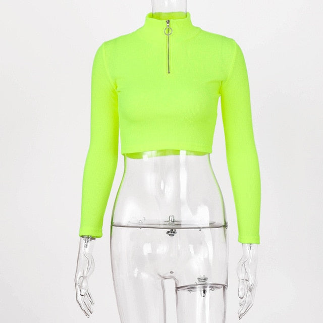 Turtleneck Zipper Knit Long Sleeve Crop Top