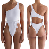 One-Shoulder Padded Bra Belt Bandage High Cut One Piece Swimsuit