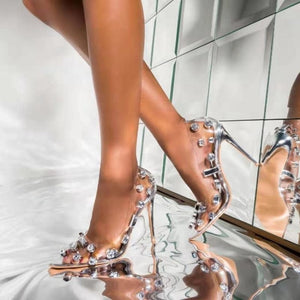 Rivet Crystal PVC Transparent High Heels Pumps
