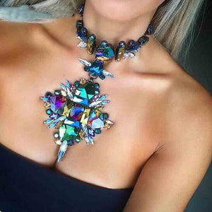 Crystal Geometric Link Chain Choker Necklace