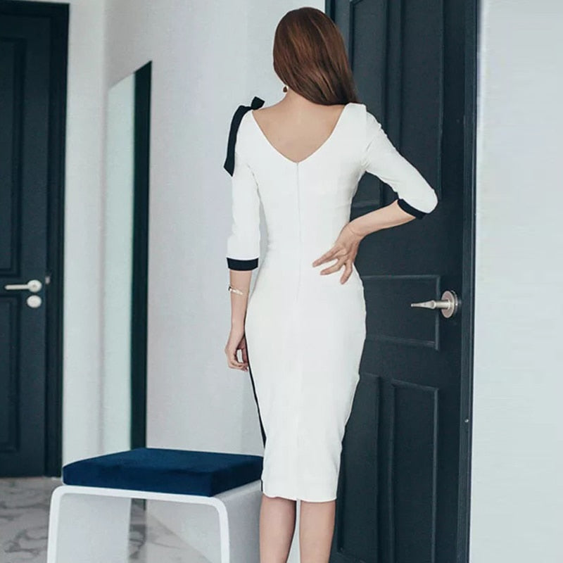 Slim Hollow Out Pleated Patchwork Bodycon Dress