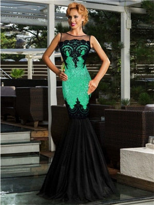 Trumpet Bottom Lace Patchwork Bodycon Sequin Dress