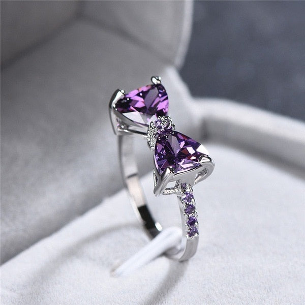 Purple Sparkling Bow Knot Stackable Ring