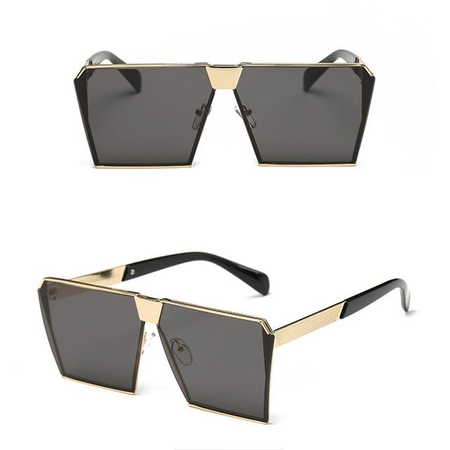 Vintage Oversize Shield UV400 Gradient Metal Frames Square Sunglasses