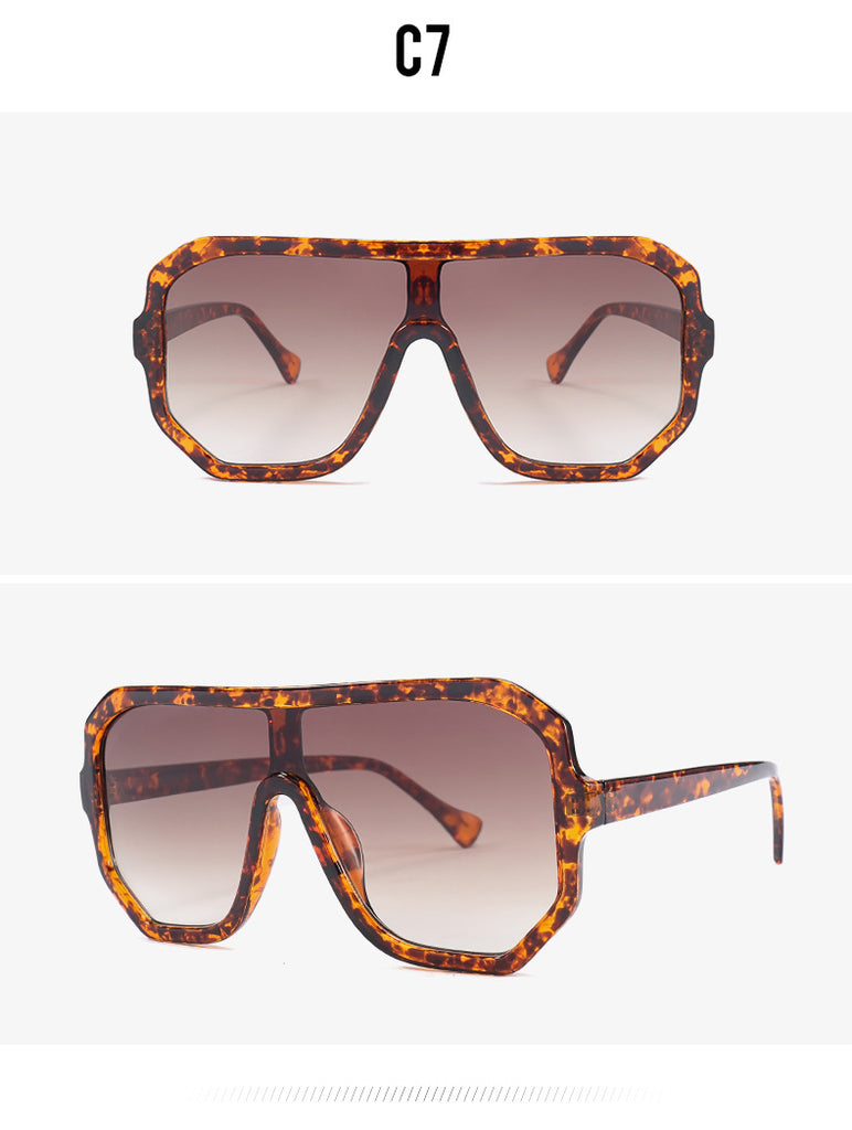 Vintage Style Single Gradient Lens Oversized Square Sunglasses