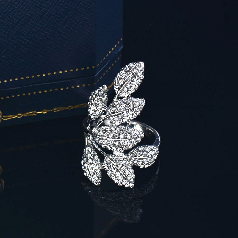 Crystal Leaf Statement Luxury Ring