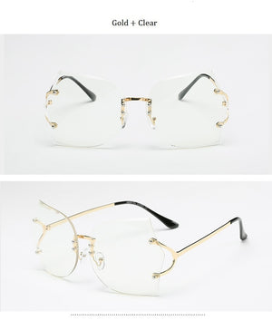 High Quality Gradient Vintage Rimless Clear Square Sunglasses