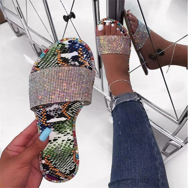 Crystal Glitter Flat Soft Bling Candy Color Slippers