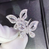 Double Butterfly Full Rhinestone Crystals Cocktail Ring