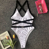 Deep V Neck Sleeveless Cross Backless One Piece Swimwear
