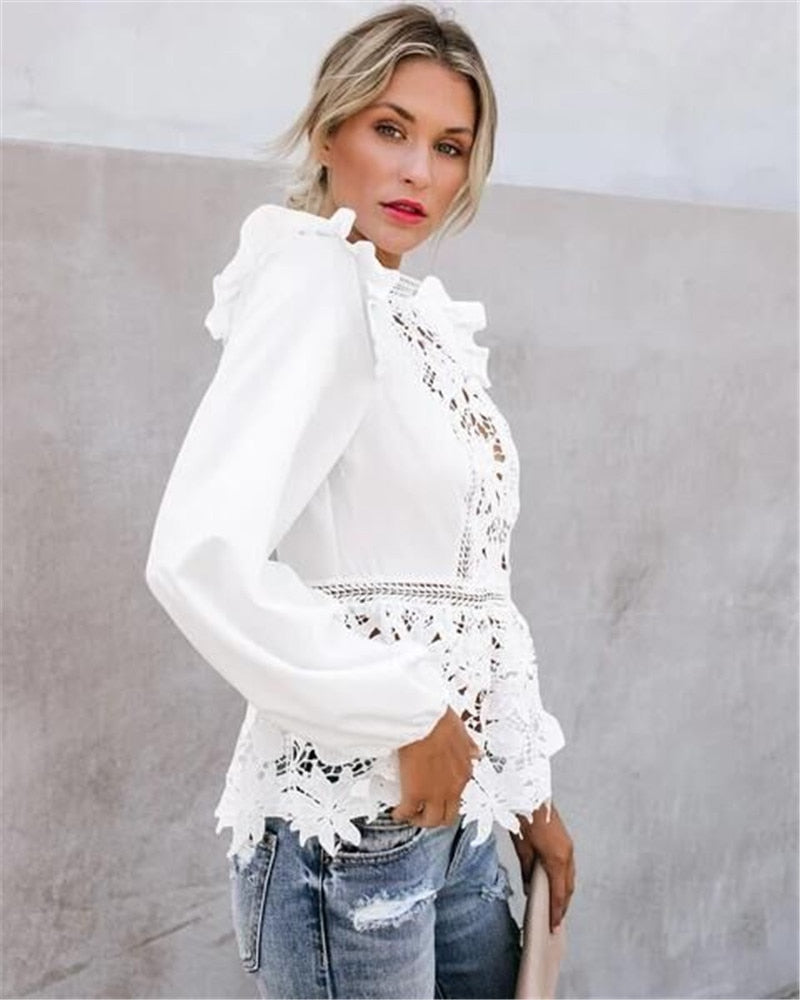 Floral Lace Long Sleeve Hollow Back Blouses