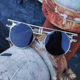 Round Steampunk Mirror Lens UV Protection Retro Sunglasses