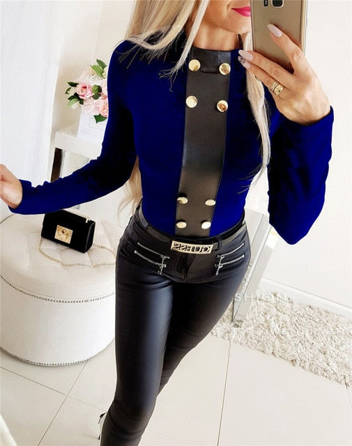 Elegant Patchwork Design Button Decor O-Neck Long Sleeve T-Shirt