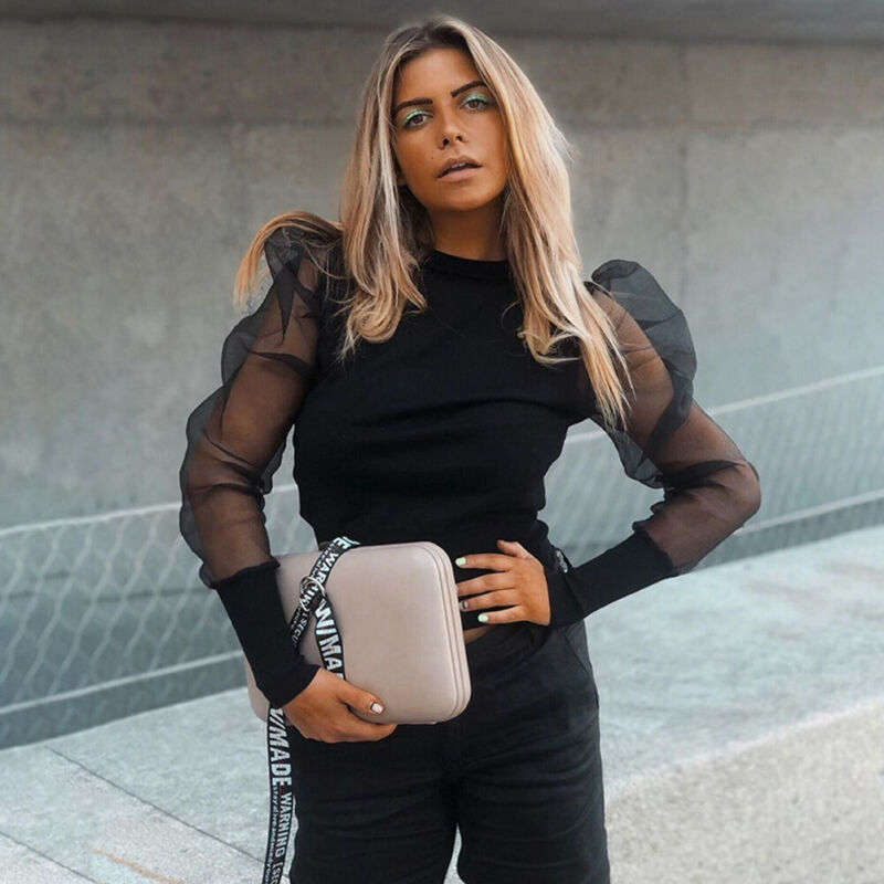 Mesh Sheer Turtleneck Puff Long Sleeve Blouse
