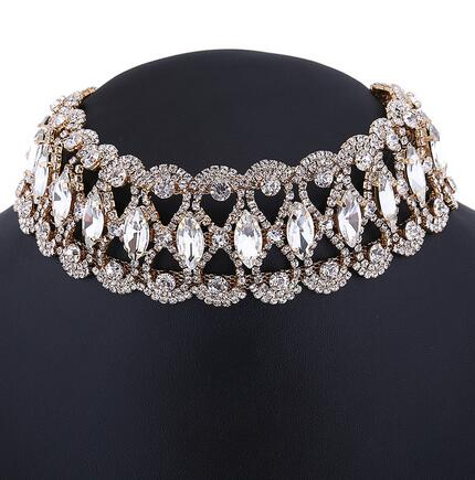 Rhinestone Wide Statement Choker Necklace