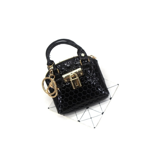 PU Leather Lock Detail Zipper Mini Handbag