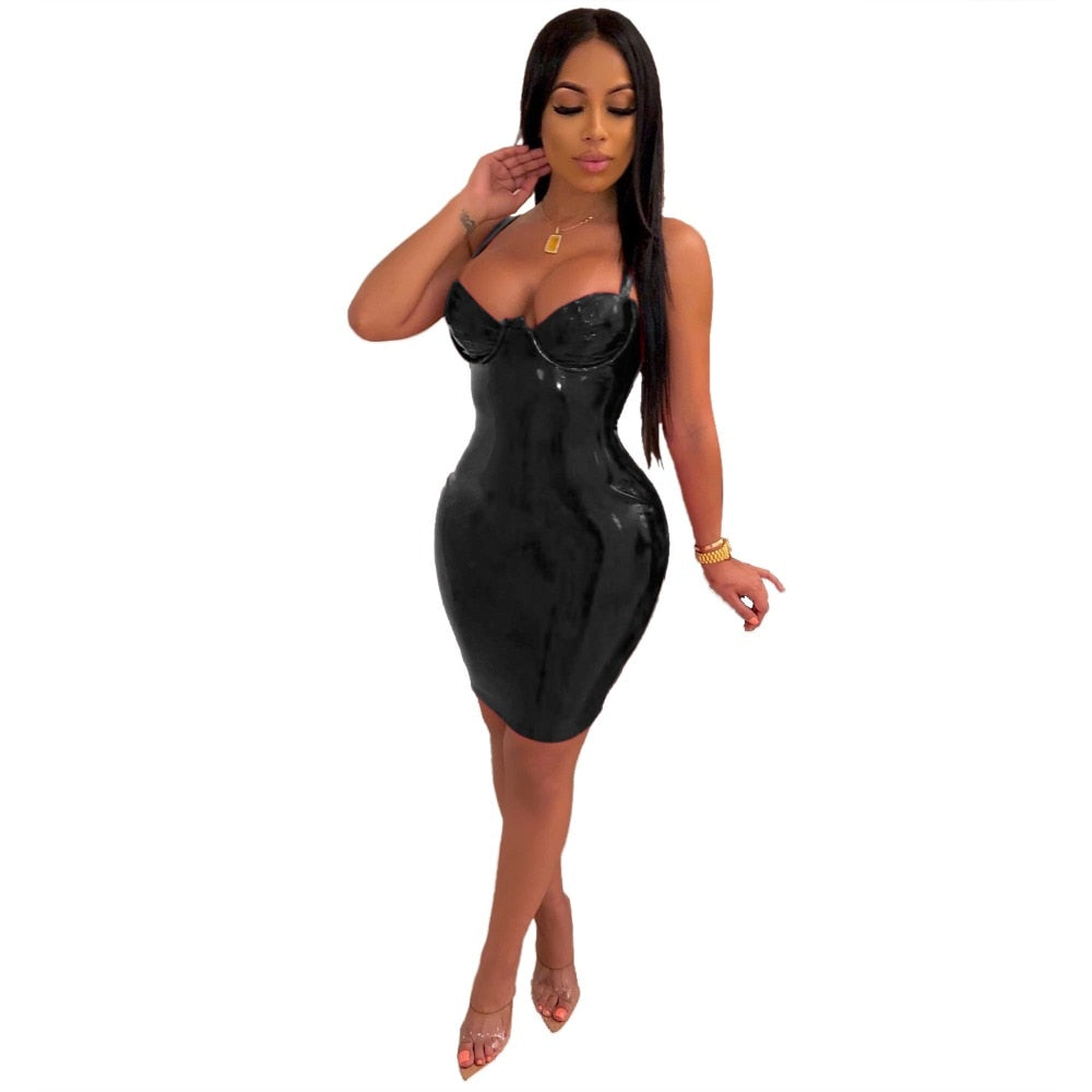 PU Leather Zipper Spaghetti Strap Sheath Bodycon Dress