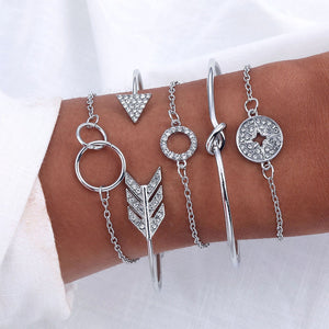 Round Crystal Rhinestone Arrow Retro Bracelet Set