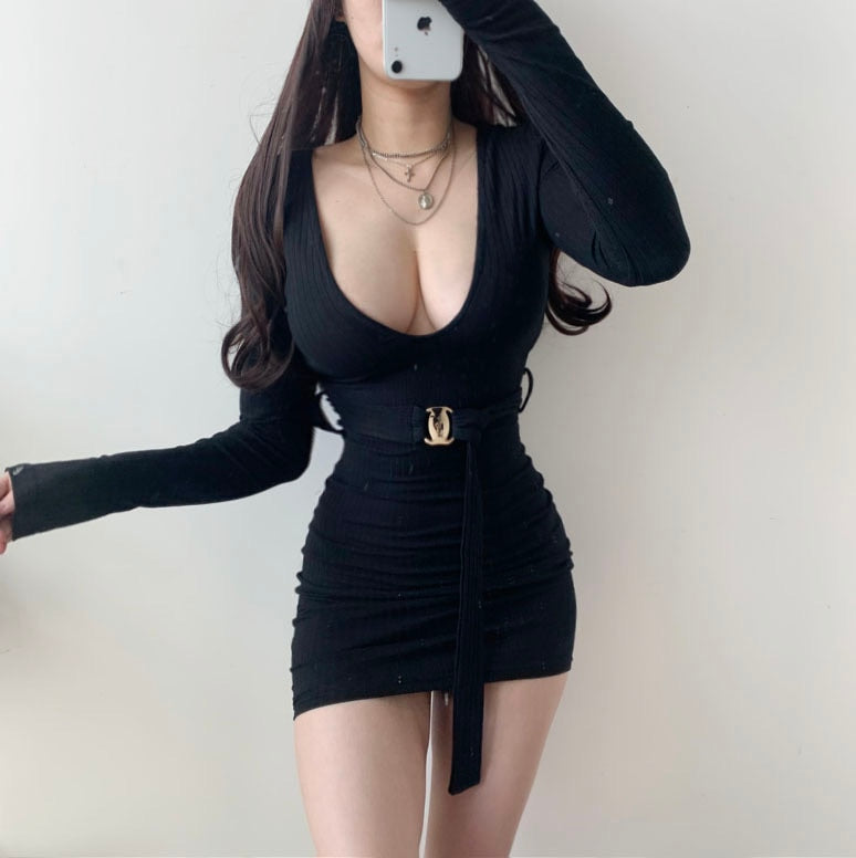 Deep V Low Chest Pit Stripe with Belt Mini Bodycon Dress