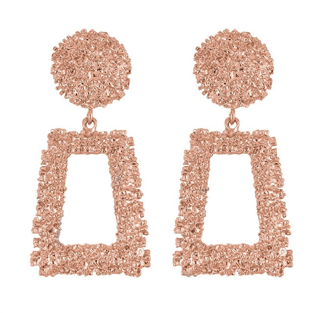 Metal Charm Geometric Pattern Hollow Out Hanging Earrings