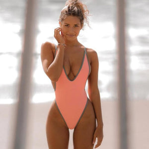 Deep V Neck Backless High Cut One Piece Swimwear