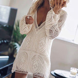 Lace V-Neck Long Sleeve Backless Casual Dress