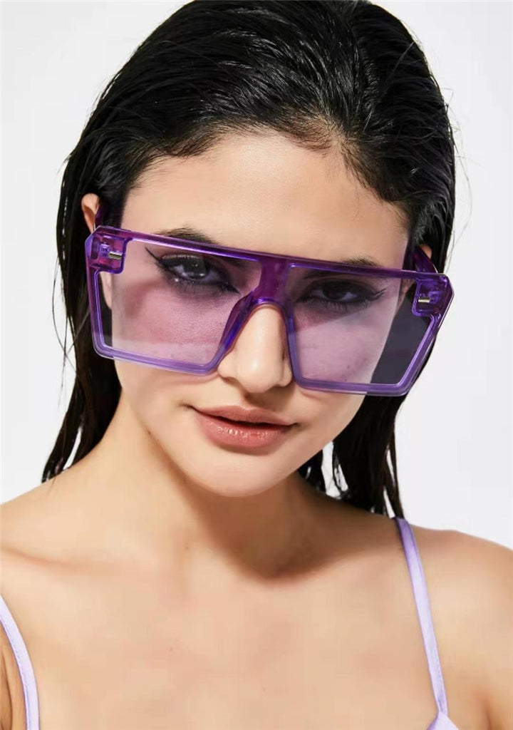 Vintage Flat Top colorful Clear Lens Oversized Square Sunglasses