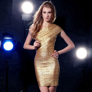 One Shoulder Asymmetrical Gold Stamp Mini Bodycon Dress