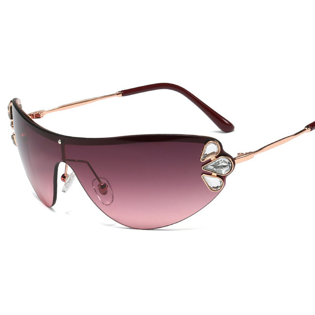 Rimless One Piece Metal Rhinestone Luxury Diamond Cat Eye Sunglasses