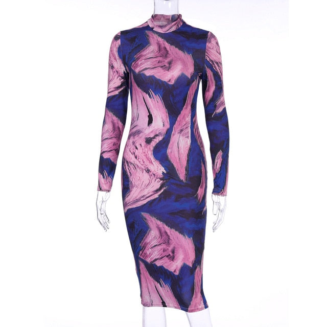 Tie Dye Wave Print Long Sleeve Bodycon Dress