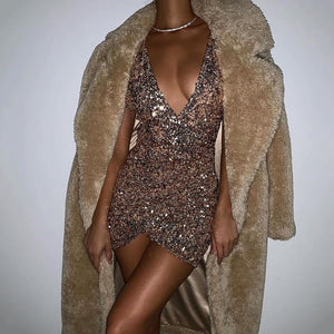 Spaghetti Strap Deep V Neck Backless Criss Cross Mini Sequin Dress