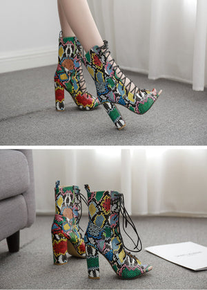 Snake Print PU Leather Open Toe Cross Lace Up Ankle Boots