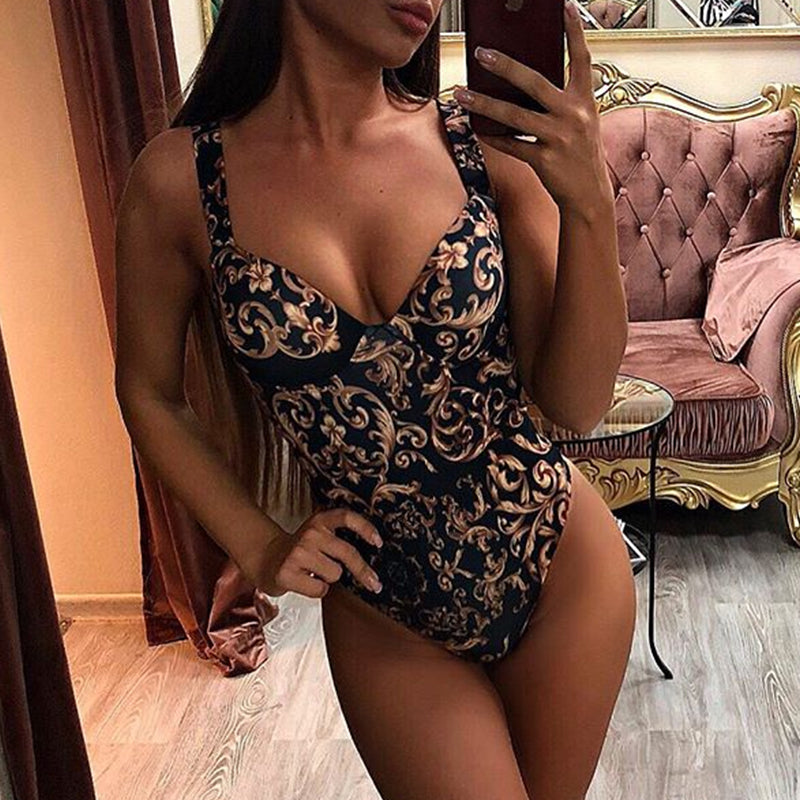In-x Paisley Print One Piece Push Up Swimsuit