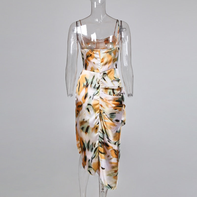 Abstract Print Spaghetti Strap High Slit Cascading Ruffle Party Dress