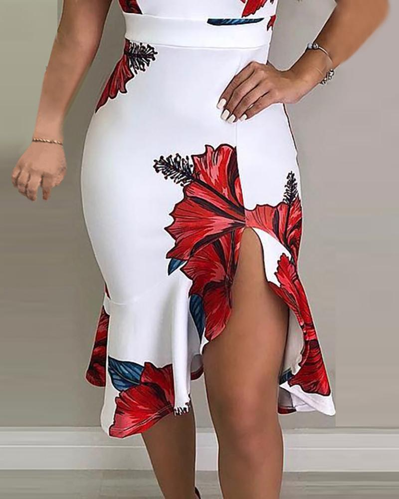 High Waist Floral Print Slit Ruffles Bodycon Dress
