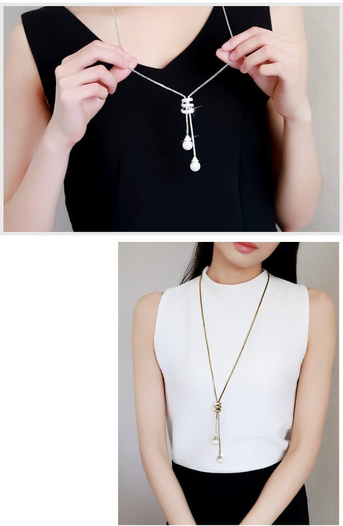 Round Pearl Crystal Pendant Long Tassel Necklace