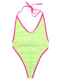Halter Backless High Cut Self Tie G String Thong One Piece Swimwear
