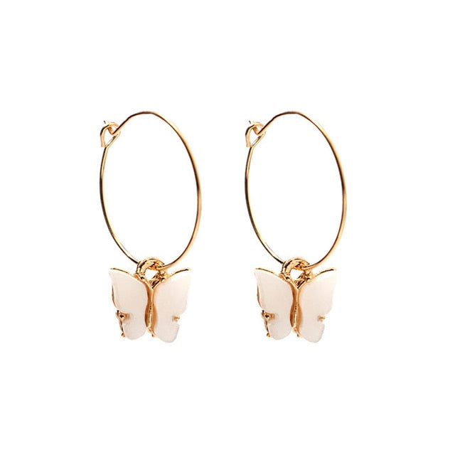 Butterfly Acrylic Pendant Big Hoop Earrings