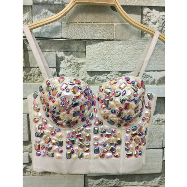 Shiny Rhinestones Colorful Beads Bustier Handmade Crop Top