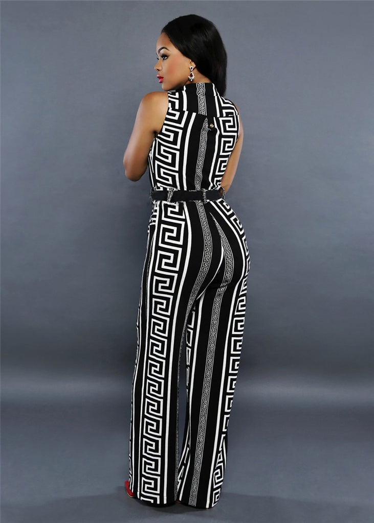 Print Straight Trousers Loose Jumpsuit