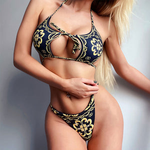 Vintage Paisley Print Halter Push Up High Cut Bikini
