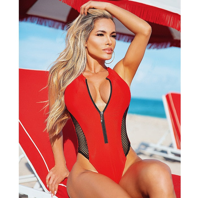 Print Push Up Zipper One Piece Swimsuit