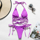 Halter Neck Sexy String Lace Up High Cut Bikini