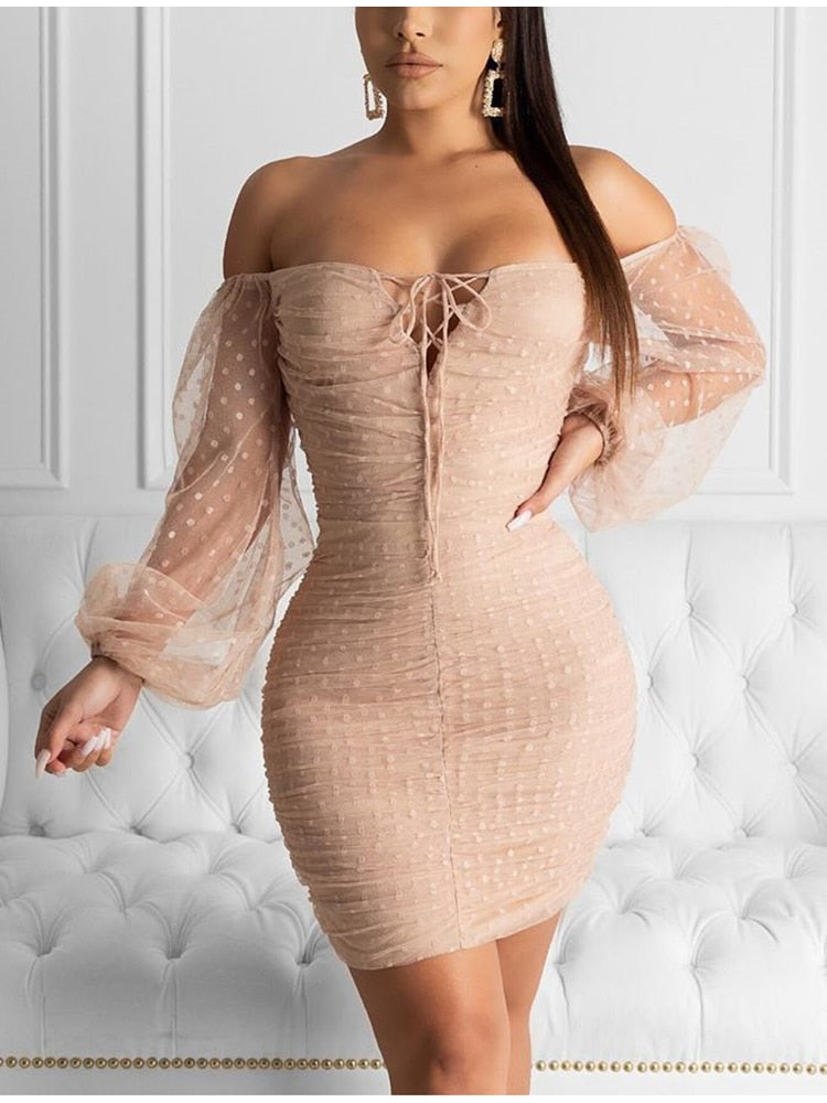 Mesh Polka Dot Long Sleeve Front Lace Up Pleated Bodycon Dress