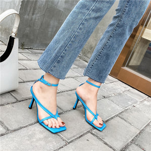Gladiator Square Head Open Toe Clip-On Strappy High Heel Sandals