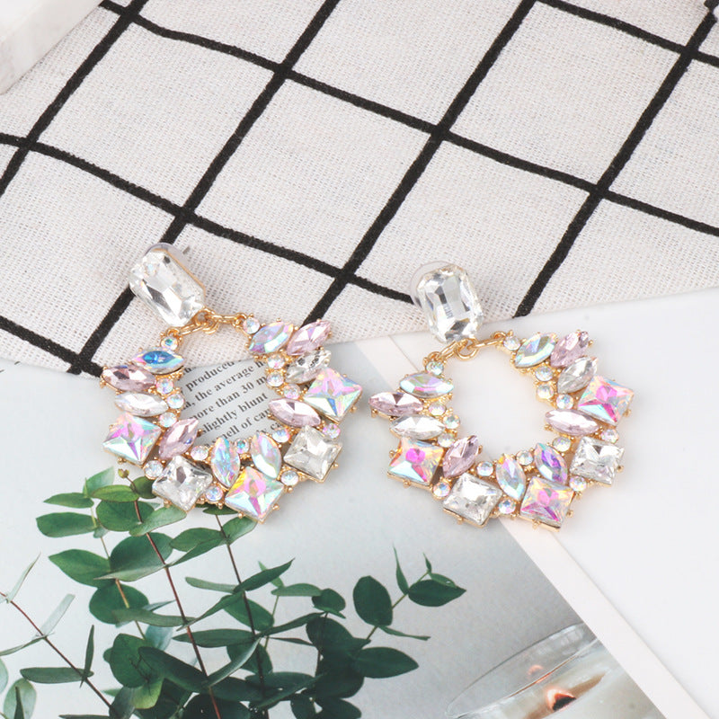 Crystal Bead Charm Large Pendant Hanging Earrings