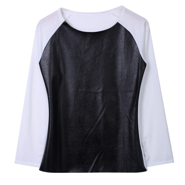 Scoop Neck Long Sleeve Patchwork PU Leather Blouse