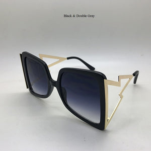Bow Shape Bee Hollow Temple Oversize Gradient Square Sunglasses